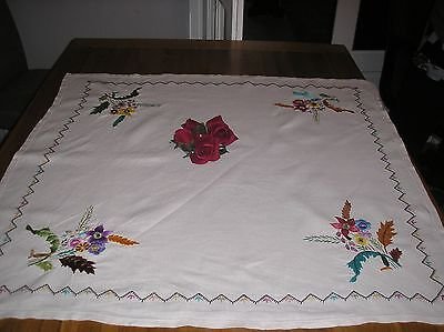 Vintage Beautiful White  Hand Embroidered Table Cloth 33 X 33 Ins.