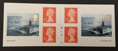 GB  2001, Submarine - 6 x 1st Class Stamps - PM2 Cylinder Booklet