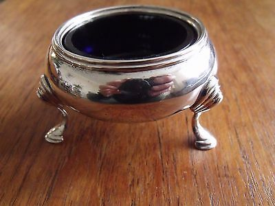 Solid Silver Salt Cellar with Blue Glass Liner, London 1856