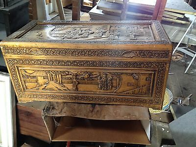 Antique Hand Carved Chinese Camphor Chest