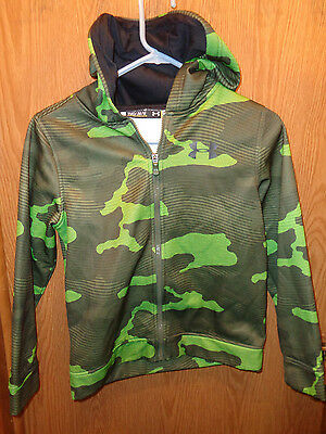 Youth Under Armour Loose  Camo Green Full Zip  Hooded Sweatshirt Size Ymd