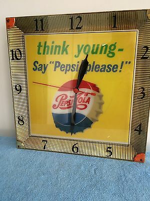 VINTAGE PEPSI COLA LIGHTED CLOCK-Think Young-Say Pepsi Please! VERY NICE!