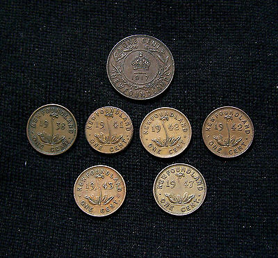 Newfoundland 1 Cent (7)  Mixed Dates1917C  30's 40's Very Nice Grade !!