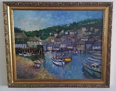 POLPERRO HARBOUR CORNWALL by John Ambrose RSMA Oil Painting
