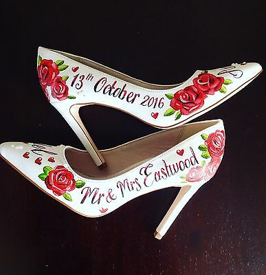 Personalised Wedding Shoes, Bridal Shoes Sizes 3,4,5,6,7,8