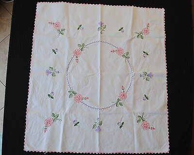 Vintage Embroidered Heavy Cotton Tablecloth with Pink Flowers & Crochet Edge
