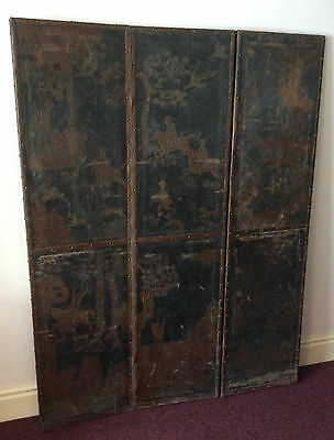 Antique Chinese leather 3 fold screen - valued at £600 - £900