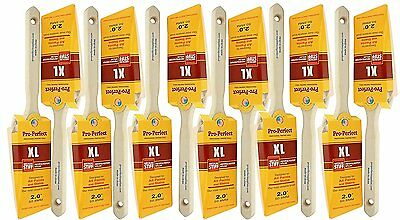 "12 PACK 2"" Angle Sash PRO PERFECT PAINT BRUSH LOT. Includes 12 each 2"" Angle Sas"