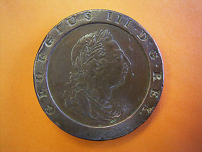 King George III Milled Copper Twopence Coin Dated 1797