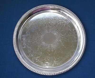 Vintage Silver Plated Serving Tray Ornate Trim Made in Hong Kong