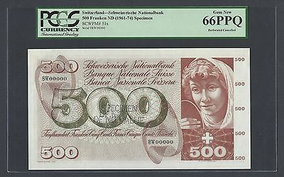Switzerland 500 Francs (1961-74) P51s Specimen Perforated Uncirculated