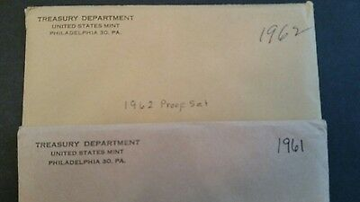 1961P and 1962P US Mint 90% Silver proof sets in original envelope.