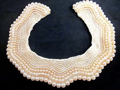 Vintage Hand-Beaded Faux Pearls on Ivory Satin Collar Scalloped Edge Japan