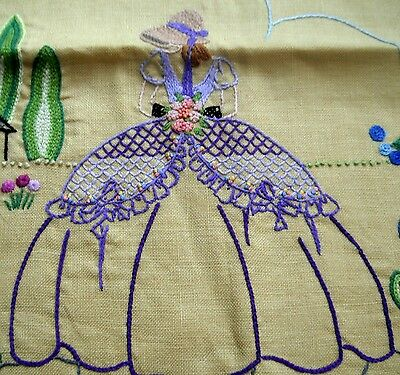 Vintage linen cushion cover embroidered crinoline lady & garden