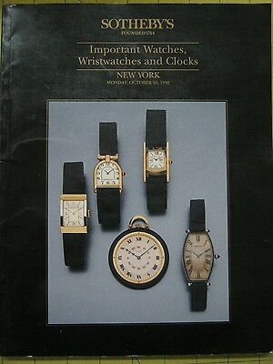 Sotheby's IMPORTANT WATCHES & CLOCKS New York auction catalog October 1992