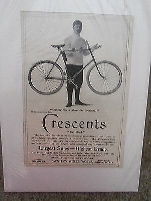 """CRESCENT BICYCLES Advertising  """"PRINT AD""""  5 X 7- WESTERN WHEEL WORKS NY.1895 ?"""