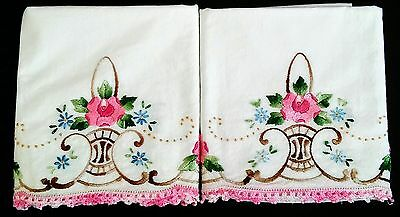 Lovely Pair Vintage Embroidered Pillowcases Roses Pink Brown Blue w/Crochet Trim