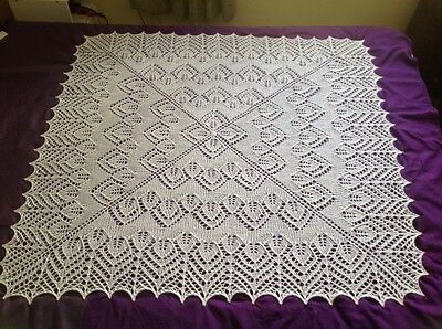 Beautiful! New White hand knitted baby shawl/blanket: square. 47x47 inches
