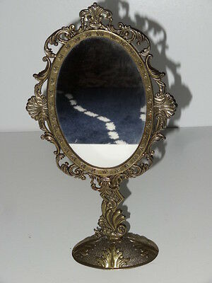 ANTIQUE VINTAGE BRASS SWING MIRROR Ornate Dressing Table