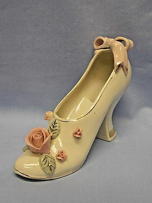 Vintage Shoe Figurine Flowers, Bow & Gold Detail 4x6 IN Porcelain Made in Japan