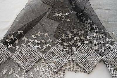Vintage Black Tambour Net Lace Shawl Scarf French Tulle Embroidered Wrap