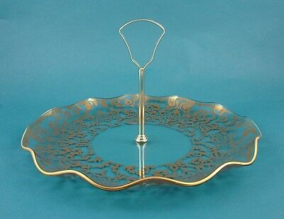 Chance Glass 10-Inch 'Regency Gold' Design Fluted Cake Plate