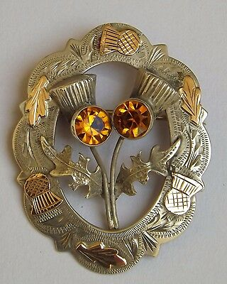 1953 GLASGOW SCOTTISH BROOCH STERLING SILVER AND 9ct GOLD, WARD BROTHERS