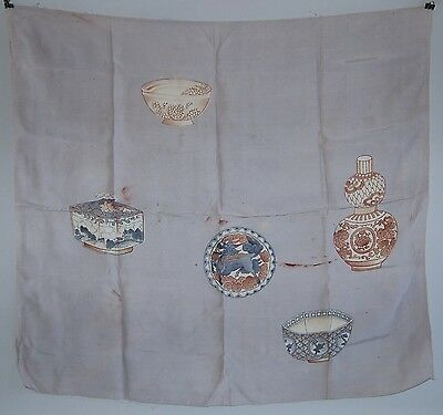 Furoshiki wrapping cloth or scarf, porcelain vessels, cotton blend, Japan