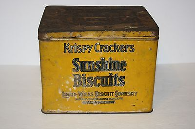 Antique Vntg Sunshine Biscuits Krispy Crackers Loose Wiles Co. Advert. Tin Can