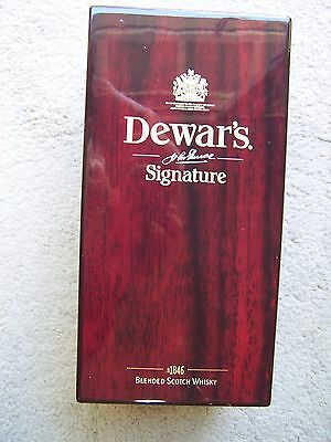 "Dewar""s Scotch Whisky Signature Empty Bottle and Wood Presentation Case.  NICE!"