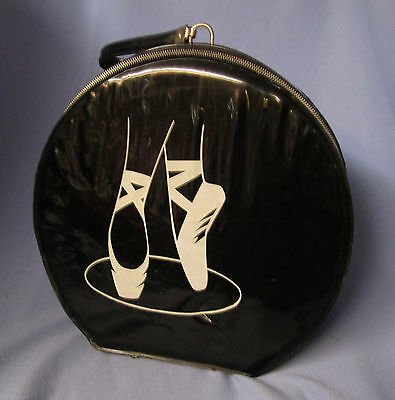 cute vintage little girl's hatbox suitcase - black patent w/ ballet slippers