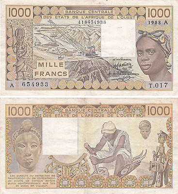 West African States 1000 Francs Banknote,p#107A,ivory Coast,1988,#654933