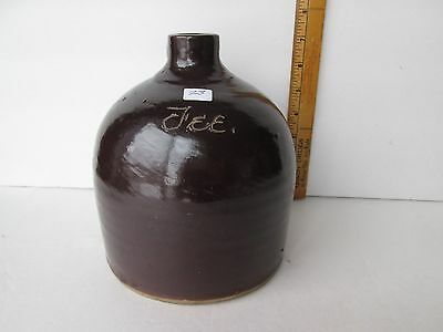 "Antique Brown Scratch Pottery Jug ""Fee"""