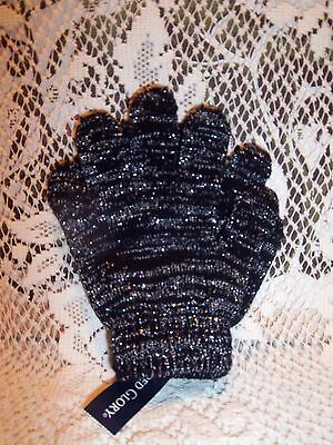 Girls Gloves/Mittens Winter Black with Silver Glitz Awesome One Size NWT