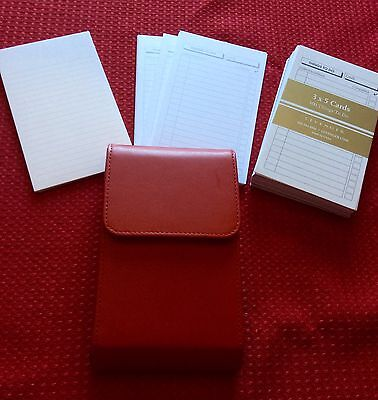 By Levenger - Red Leather Pocket Brief Case With Card OrganizerTo Do - 3x5 Cards