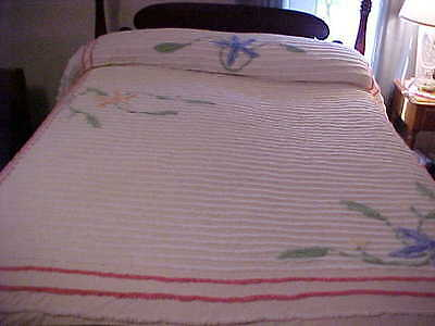 Vintage Chenille Bedspread White with Multi Color Flowers and Pink Trim Full