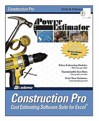 Adams Power Estimator Construction Pro Cost Estimating Software Suite for Excel