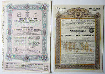 Lot of eight 1890-1909 Czarist Russian Bonds: Gold loans, State and City loans