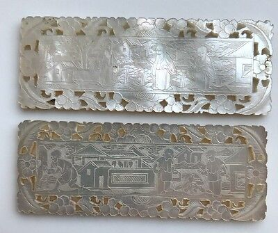 A Pair Of Antique Mother Of Pearl Chinese Carved Plaques