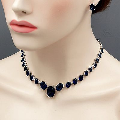 White Gold Plated Sapphire Zirconia CZ Necklace Earrings Wedding Jewelry Set 304