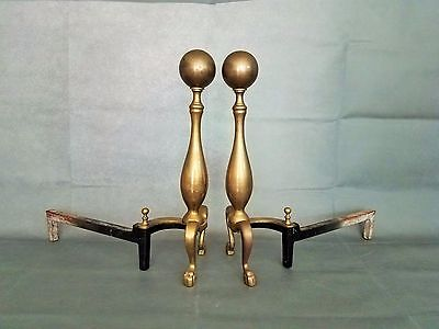 Vintage Brass Cannonball Fireplace Andirons