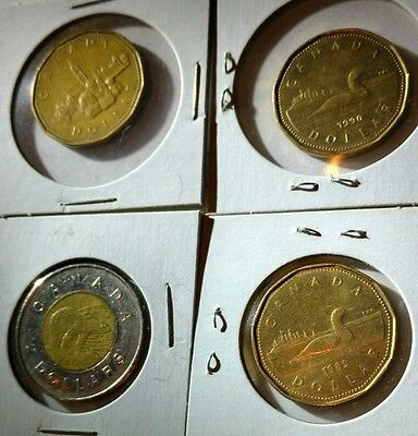 Lot of Canadian Coins - Five 5 Dollars 2 Dollar Coin 1 Dollar Loonie Canada