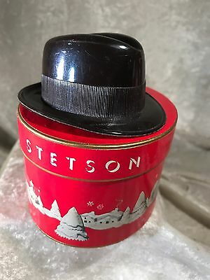 Vintage Stetson Miniature Plastic Hat In Christmas Gift Box