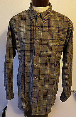 Country Traditional Men's Pendleton Wool Shirt Brown Plaid Button Down Collar XL