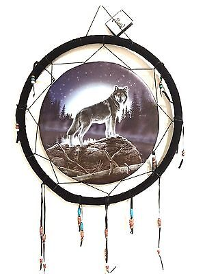 "Dream Catcher Wall Art Wolf At Lake, Forest, Full Moon 18"" Native American Look"