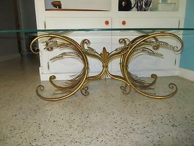Vintage 1960s Wheat Sheaf Gilt Coffee Cocktail Table Hollywood Regency No Top