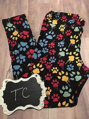 3d8f02f4ab6446 NWT LuLaRoe Cat Dog Paw Prints Tall And Curvy TC Leggings **MAJOR UNICORN  HTF