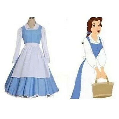 Adult Beauty and the Beast Belle Blue Maid Dress Cosplay Costume Custom Made