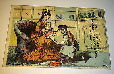 Rare Antique Victorian American Shoe Advertising Trade Card! Gift Ticket Drawing