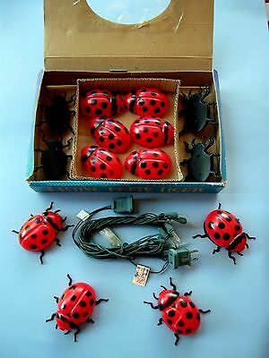 RED LADYBUG LIGHTS Garden Party Indoor-Out VTG. SET 10 Blow Mold Lady Bugs NEW!